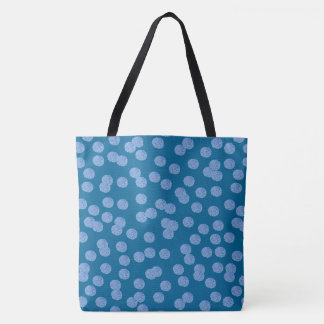 Blue Polka Dots Large All-Over Printed Tote Bag
