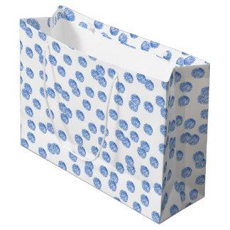 Blue Polka Dots Large Matte Gift Bag