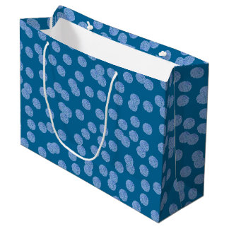 Blue Polka Dots Large Matte Gift Bag
