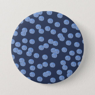 Blue Polka Dots Large Round Button