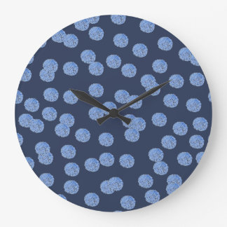 Blue Polka Dots Large Round Wall Clock