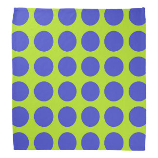 Blue Polka Dots Lime Green Bandana