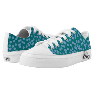 Blue Polka Dots Low Top Shoes