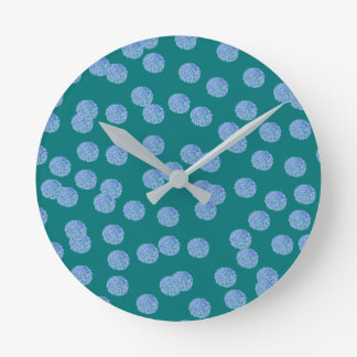 Blue Polka Dots Medium Round Wall Clock