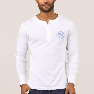 Blue Polka Dots Men's Placket T-Shirt