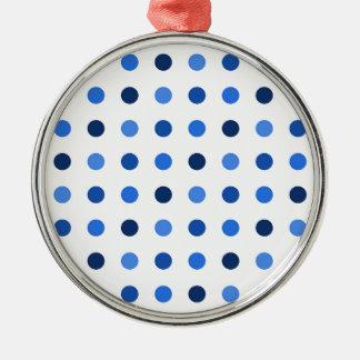 Blue polka dots metal ornament