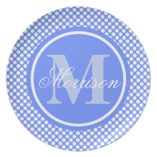 Blue Polka Dots Monogram Plate