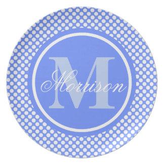Blue Polka Dots Monogram Plate