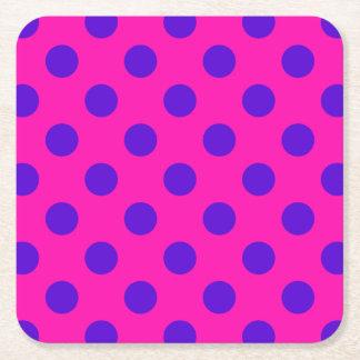 Blue polka dots on fuchsia square paper coaster