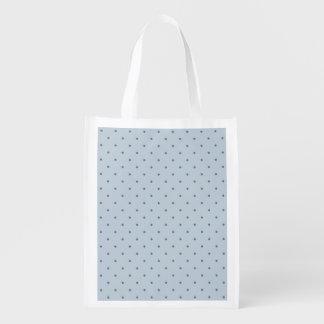 Blue Polka Dots on Lighter Blue Reusable Grocery Bag