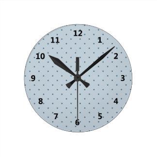 Blue Polka Dots on Lighter Blue Round Clock