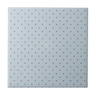 Blue Polka Dots on Lighter Blue Small Square Tile