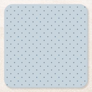 Blue Polka Dots on Lighter Blue Square Paper Coaster