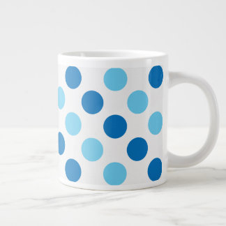 Blue polka dots pattern large coffee mug