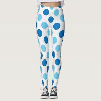 Blue polka dots pattern leggings