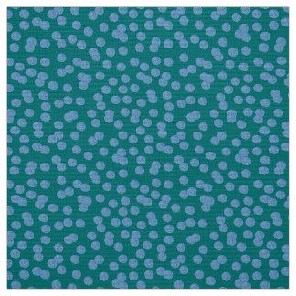 Blue Polka Dots Polyester Poplin Fabric