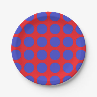 Blue Polka Dots Red Paper Plate
