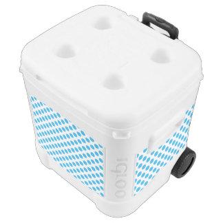 Blue Polka Dots Rolling Cooler
