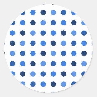 Blue Polka-dots Round Sticker