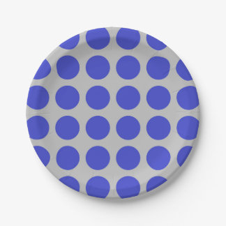 Blue Polka Dots Silver Paper Plate
