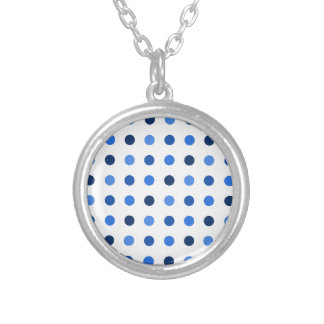 Blue polka dots silver plated necklace