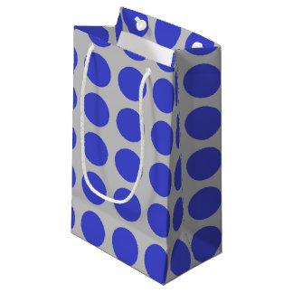 Blue Polka Dots Silver Small Gift Bag