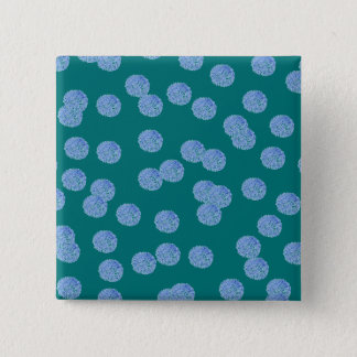 Blue Polka Dots Square Button