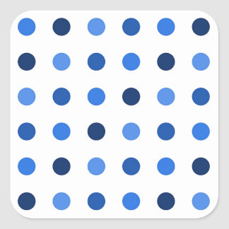Blue Polka-dots Square Sticker