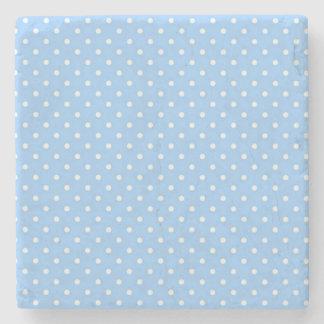 Blue Polka Dots Stone Beverage Coaster