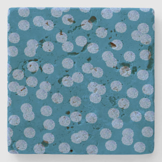 Blue Polka Dots Travertine Coaster