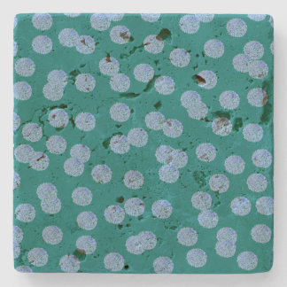 Blue Polka Dots Travertine Coaster Stone Beverage Coaster