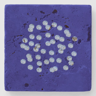 Blue Polka Dots Travertine Coaster Stone Coaster