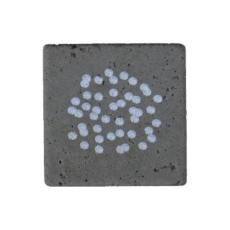Blue Polka Dots Travertine Magnet
