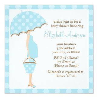 Blue Polka Dots Umbrella Mom Baby Shower 13 Cm X 13 Cm Square Invitation Card