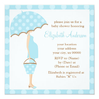 Blue Polka Dots Umbrella Mom Baby Shower Personalized Announcement