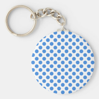 Blue Polka Dots with Customizable Background Keychains