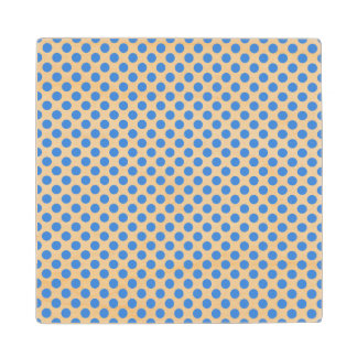 Blue Polka Dots with Customizable Background Wood Coaster