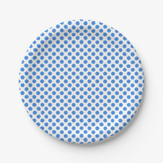 Blue Polka Dots with Customizable Background 7 Inch Paper Plate