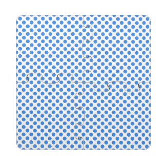 Blue Polka Dots with Customizable Background Puzzle Coaster
