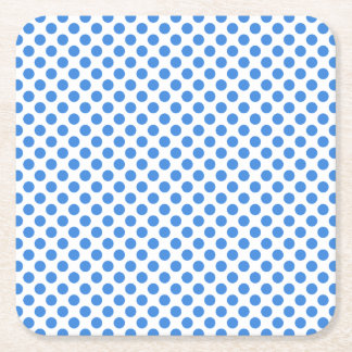 Blue Polka Dots with Customizable Background Square Paper Coaster