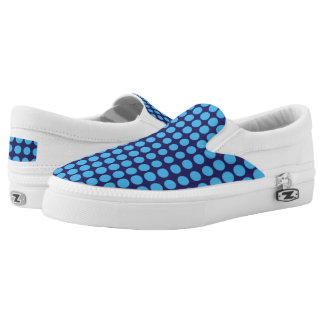 Blue Polka Dots Women or Men Slip-On Printed Shoes