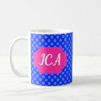 Blue Polkadots, Blue Background, with Name Plate Coffee Mug