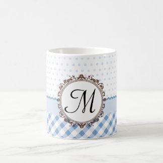 Blue Polkadots, Checks and Stripes with Monogram Coffee Mug
