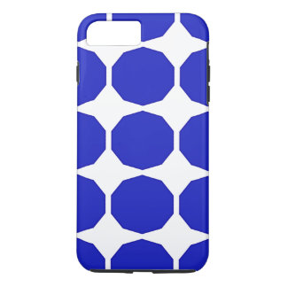 Blue polygon darker blue edged patterned white iPhone 7 plus case