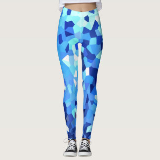 Blue Polygon Shape Stained Glass Mosaic Abstract Leggings
