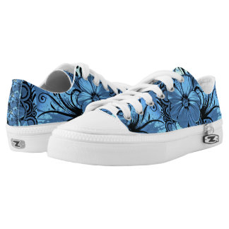 Blue Polynesian Flowers Design Printed Shoes