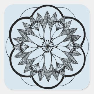 Blue Pond Bouquet Mandala Square Sticker