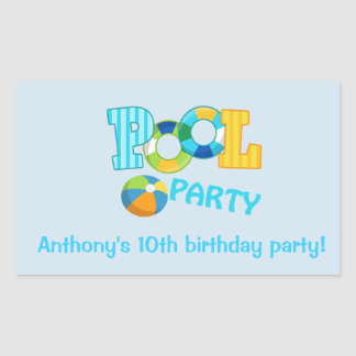 Blue Pool Party Square Sticker
