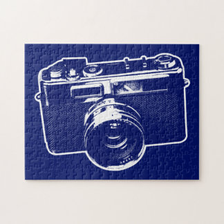 Blue Pop Art Camera Jigsaw Puzzle