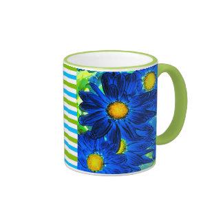Blue Pop Art Daisies Mugs